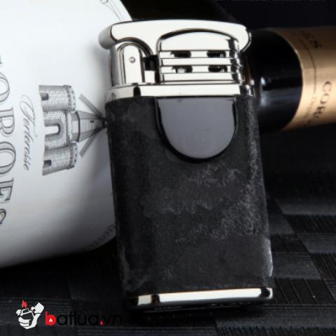 Bật Lửa Điện Cảm Ứng Chống Gió Tia Lửa Vòng Cung Kép Sạc USB Bằng Da Cao Cấp Zhongbang ZB170B Vân Đen