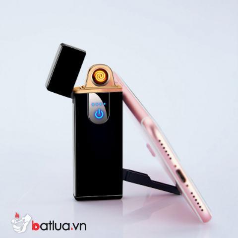 Bật Lửa điện cảm ứng kiêm giá đỡ điện thoại màu đen