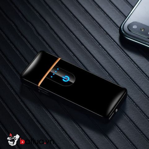 Bật lửa điện sạc USB 2019 màu đen bóng