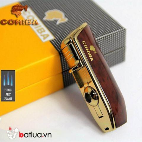 Bật lửa xì gà Cohiba khò 3 tia- COB 528 màu nâu