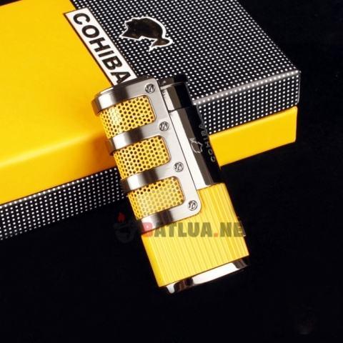 Bật Lửa Xì Gà COHIBA Khò 3 tia Cực mạnh ( Màu Vàng )