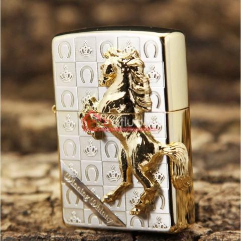 Bật lửa Zippo chính hãng phiên bản giới hạn khắc vương miện hình ngựa