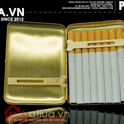 Hộp đựng thuốc lá bằng đồng nguyên chất hoạ tiết hoa văn bao quanh mặt trời (loại 16 điếu)