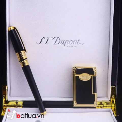 Set S.T.Dupont - Bật Lửa Dupont Đen Viền Vàng Sang Trọng & Bút Dupont Sang Trọng